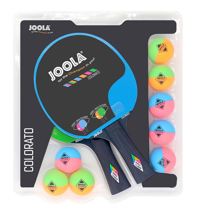 """Joola Tischtennis Schlägerset """"Colorato"""" mit 2 Schlägern und 8 Bällen 54814"""