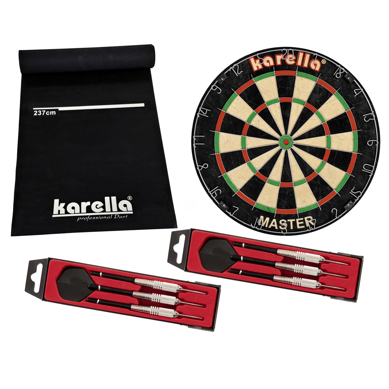 """Karella Wettkampf-Dartboard """"Master"""", inkl. Dartmatte und Steeldarts 8150.03"""