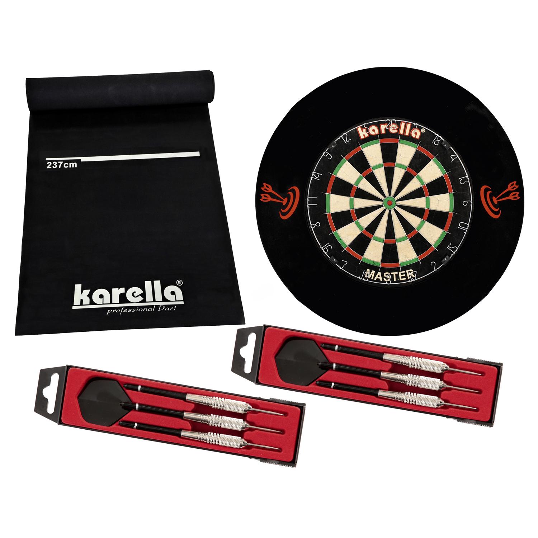 """Karella Wettkampf-Dartboard """"Master"""", inkl. Dartmatte und Steeldarts 8150.05"""